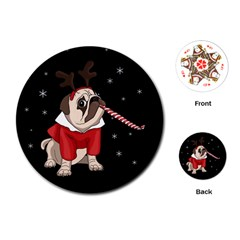Pug Xmas Playing Cards (round)  by Valentinaart