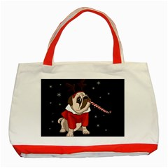 Pug Xmas Classic Tote Bag (red) by Valentinaart