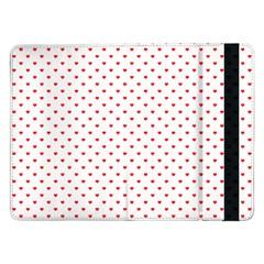Small Christmas Red Polka Dot Hearts On Snow White Samsung Galaxy Tab Pro 12 2  Flip Case by PodArtist