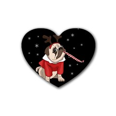 Pug Xmas Rubber Coaster (heart)  by Valentinaart