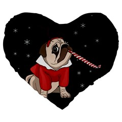 Pug Xmas Large 19  Premium Heart Shape Cushions by Valentinaart