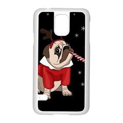 Pug Xmas Samsung Galaxy S5 Case (white) by Valentinaart
