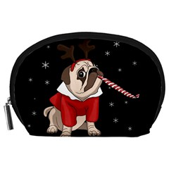 Pug Xmas Accessory Pouches (large)  by Valentinaart