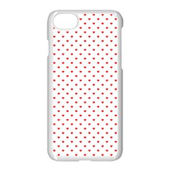 Small Christmas Red Polka Dot Hearts On Snow White Apple Iphone 7 Seamless Case (white) by PodArtist