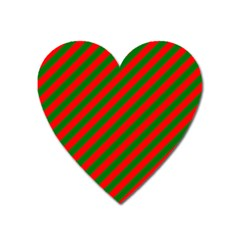 Red And Green Christmas Candycane Stripes Heart Magnet by PodArtist