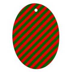 Red And Green Christmas Candycane Stripes Oval Ornament (two Sides) by PodArtist