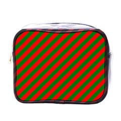 Red And Green Christmas Candycane Stripes Mini Toiletries Bags by PodArtist