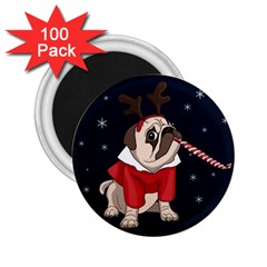 Pug Xmas 2 25  Magnets (100 Pack)  by Valentinaart