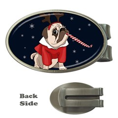 Pug Xmas Money Clips (oval)  by Valentinaart