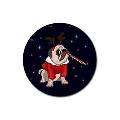Pug Xmas Rubber Round Coaster (4 Pack)  by Valentinaart