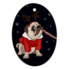 Pug Xmas Oval Ornament (two Sides) by Valentinaart