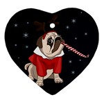 Pug Xmas Heart Ornament (Two Sides) Front