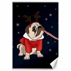 Pug Xmas Canvas 24  X 36  by Valentinaart