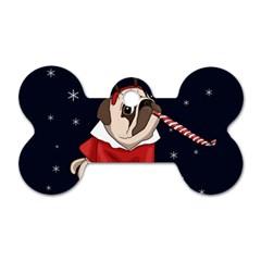 Pug Xmas Dog Tag Bone (one Side) by Valentinaart