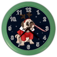 Pug Xmas Color Wall Clocks by Valentinaart