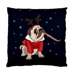 Pug Xmas Standard Cushion Case (two Sides) by Valentinaart
