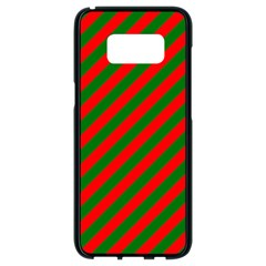 Red And Green Christmas Candycane Stripes Samsung Galaxy S8 Black Seamless Case by PodArtist