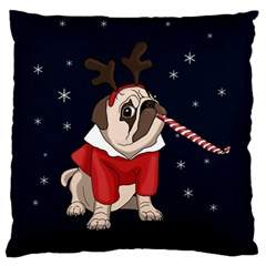 Pug Xmas Standard Flano Cushion Case (one Side) by Valentinaart