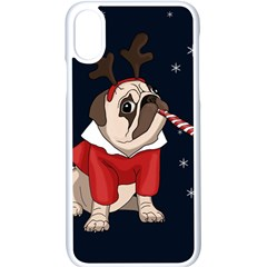 Pug Xmas Apple Iphone X Seamless Case (white) by Valentinaart