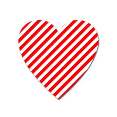 Christmas Red And White Candy Cane Stripes Heart Magnet by PodArtist