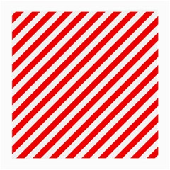 Christmas Red And White Candy Cane Stripes Medium Glasses Cloth by PodArtist