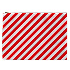 Christmas Red And White Candy Cane Stripes Cosmetic Bag (xxl)  by PodArtist