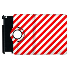 Christmas Red And White Candy Cane Stripes Apple Ipad 2 Flip 360 Case by PodArtist