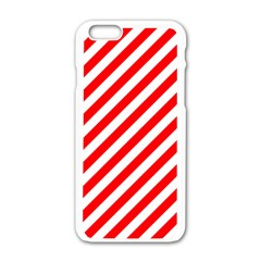 Christmas Red And White Candy Cane Stripes Apple Iphone 6/6s White Enamel Case by PodArtist