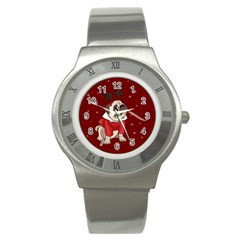 Pug Xmas Stainless Steel Watch by Valentinaart