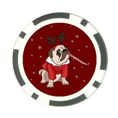 Pug Xmas Poker Chip Card Guard by Valentinaart