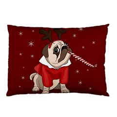 Pug Xmas Pillow Case by Valentinaart