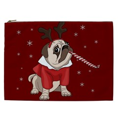 Pug Xmas Cosmetic Bag (xxl)  by Valentinaart