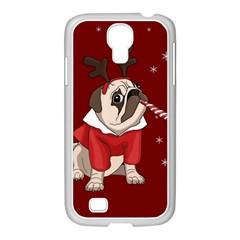 Pug Xmas Samsung Galaxy S4 I9500/ I9505 Case (white) by Valentinaart