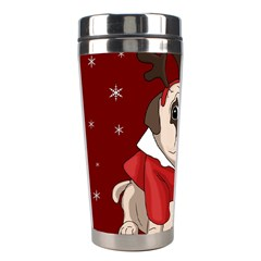 Pug Xmas Stainless Steel Travel Tumblers by Valentinaart