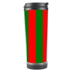 Wide Red And Green Christmas Cabana Stripes Travel Tumbler