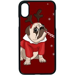 Pug Xmas Apple Iphone X Seamless Case (black) by Valentinaart