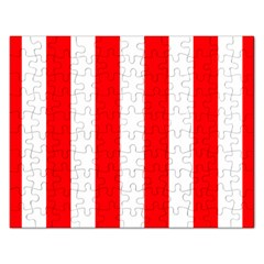 Wide Red And White Christmas Cabana Stripes Rectangular Jigsaw Puzzl by PodArtist