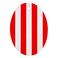Wide Red And White Christmas Cabana Stripes Oval Ornament (two Sides) by PodArtist