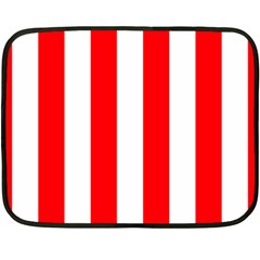 Wide Red And White Christmas Cabana Stripes Fleece Blanket (mini) by PodArtist