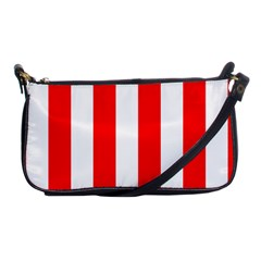 Wide Red And White Christmas Cabana Stripes Shoulder Clutch Bags by PodArtist