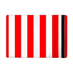 Wide Red And White Christmas Cabana Stripes Apple Ipad Mini Flip Case by PodArtist