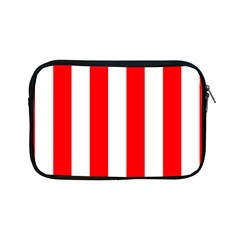 Wide Red And White Christmas Cabana Stripes Apple Ipad Mini Zipper Cases by PodArtist