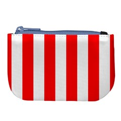 Wide Red And White Christmas Cabana Stripes Large Coin Purse by PodArtist