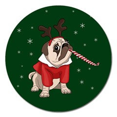 Pug Xmas Magnet 5  (round) by Valentinaart