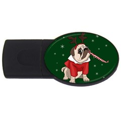 Pug Xmas Usb Flash Drive Oval (4 Gb) by Valentinaart
