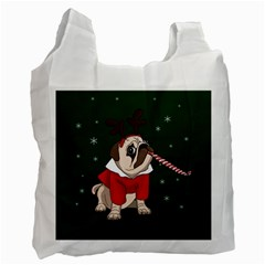 Pug Xmas Recycle Bag (one Side) by Valentinaart
