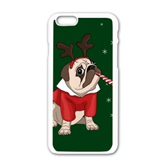 Pug Xmas Apple Iphone 6/6s White Enamel Case by Valentinaart