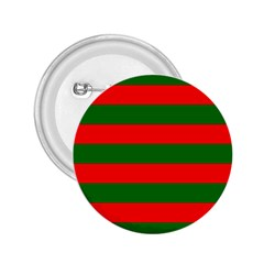 Red And Green Christmas Cabana Stripes 2 25  Buttons by PodArtist