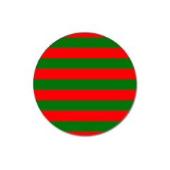 Red And Green Christmas Cabana Stripes Magnet 3  (round) by PodArtist
