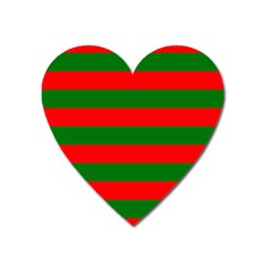 Red And Green Christmas Cabana Stripes Heart Magnet by PodArtist